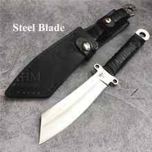 Load image into Gallery viewer, Fixed Blade Hunting Knife with Leather Sheath for Outdoor Survival Tactical Knives Hand Forged Knifes