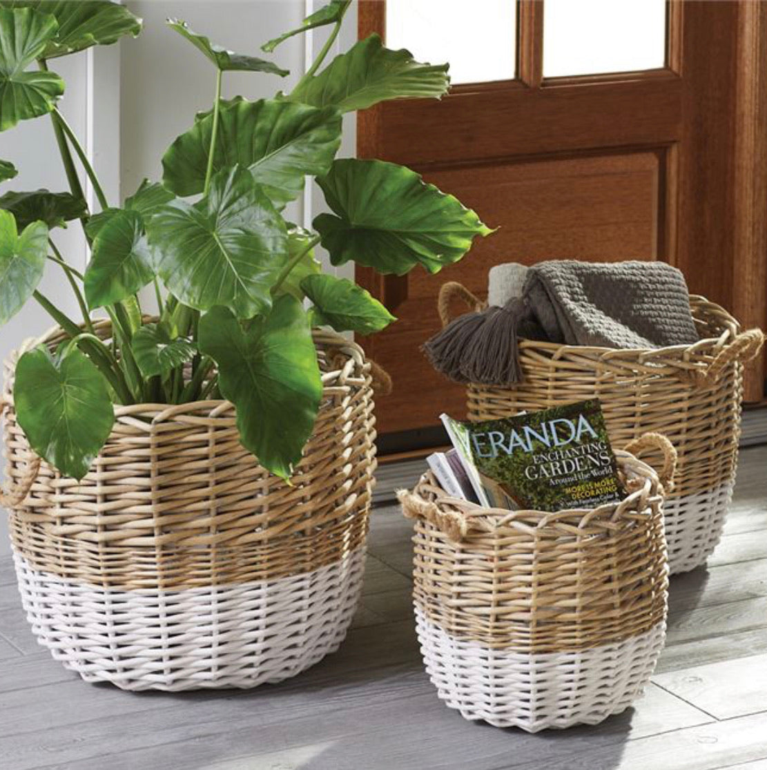 Dual Toned Wicker Baskets