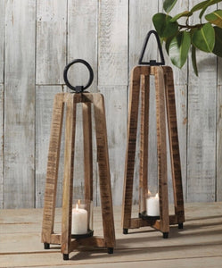 Open-Air Wooden Lantern Set