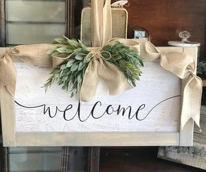 Welcome Sign w/Burlap Ribbon