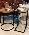 Folding Rustic Wood & Metal Accent Table
