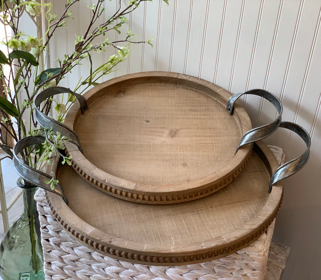 Fir Wood Tray w/Iron Handles