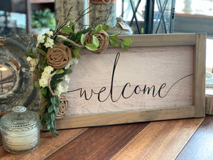Welcome Sign w/Burlap Flowers