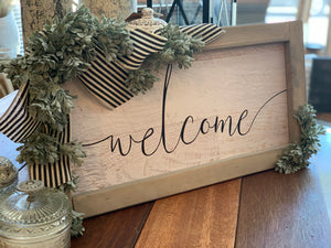 Welcome Sign w/Black Stripe Ribbon