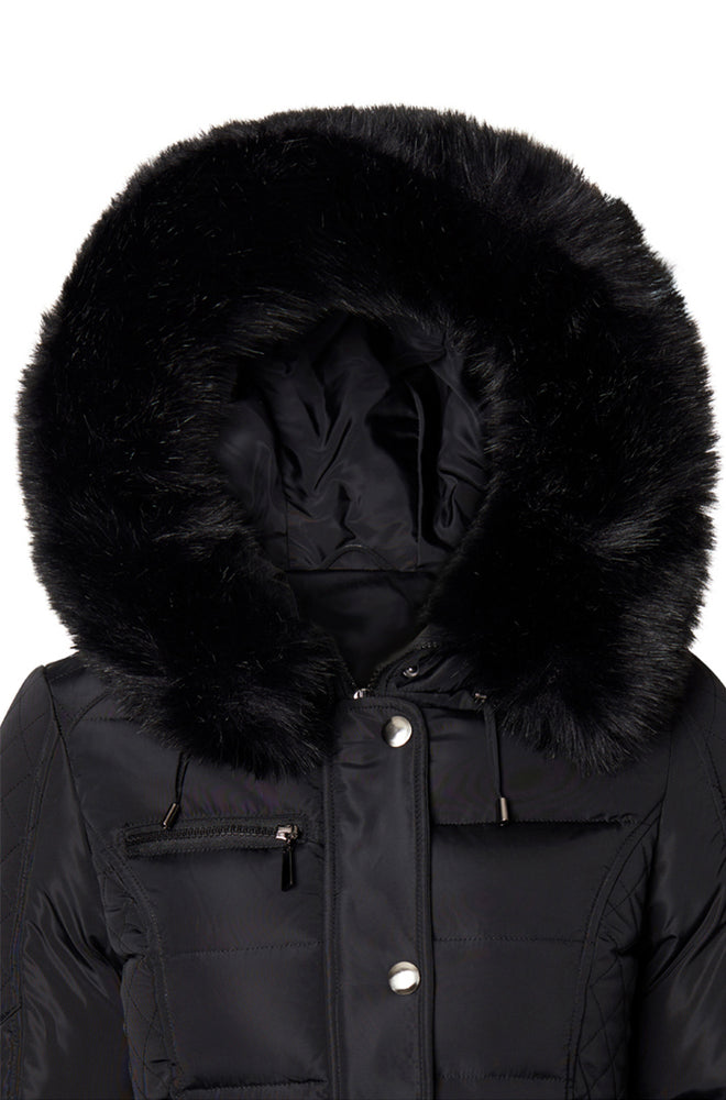 FAUX FUR COLLAR BLACK