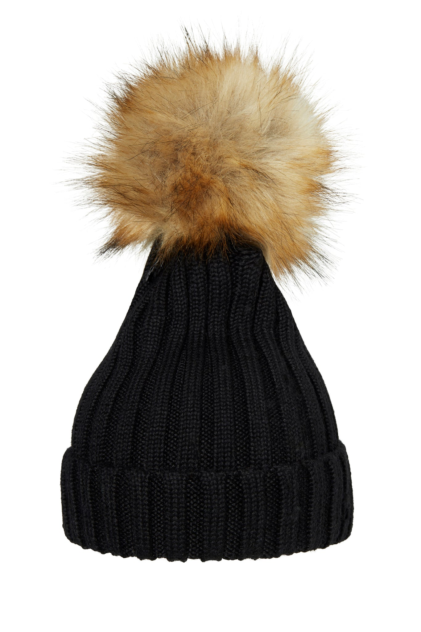 POM POM HAT CLASSIC FAUX FUR BLACK/NATURE