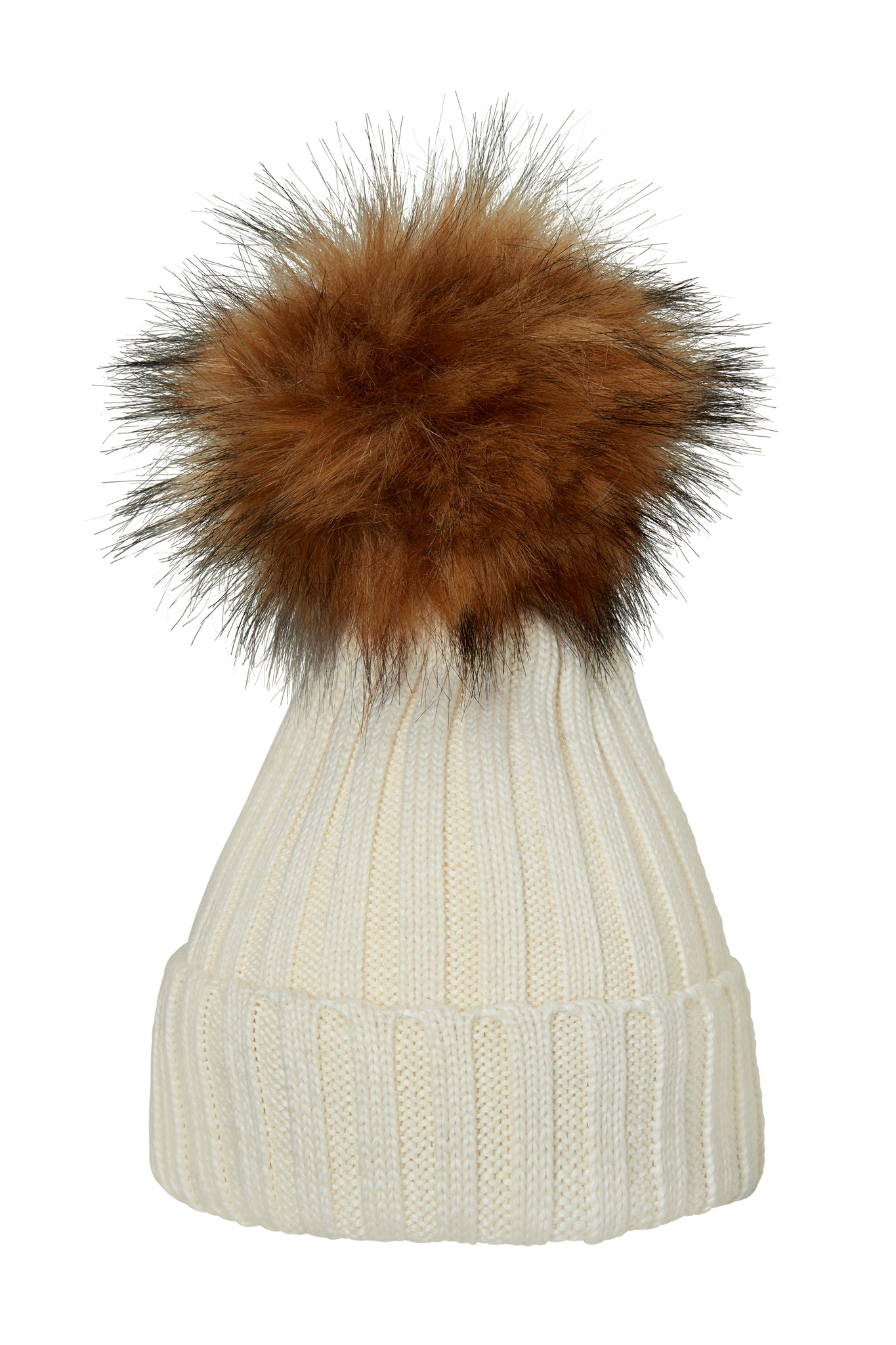 POM POM HAT CLASSIC FAUX FUR WHITE/NATURE
