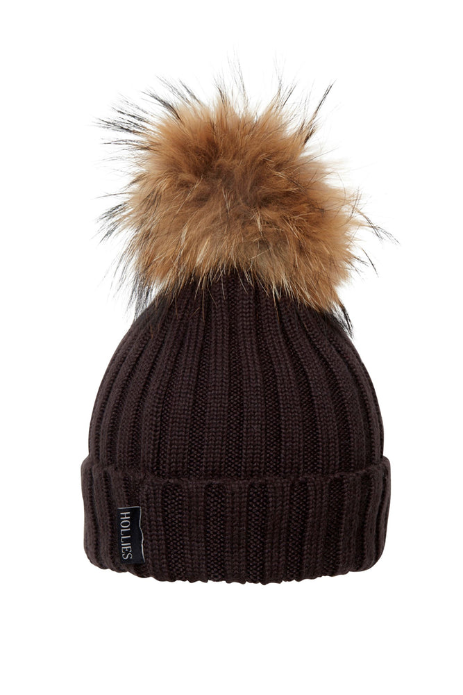 POM POM HAT CLASSIC BROWN/NATURE