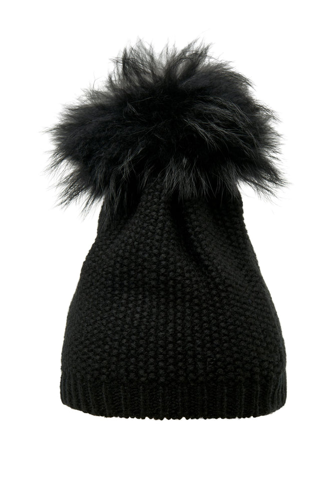 POM POM HAT DOT BLACK/BLACK