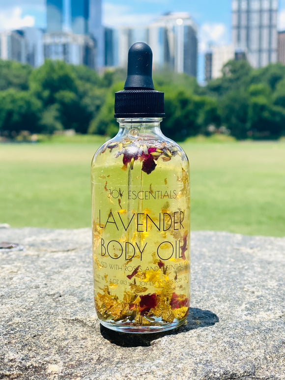 Lavender Body Oil Infused with Roses and Essential Oils