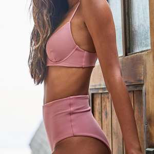 Ellen Bikini Top by Citrine Swimwear in rose quartz