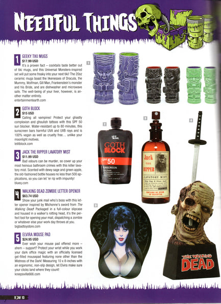 GOTH BLOCK FEATURED IN RUE MORGUE'S NEEDFUL THINGS
