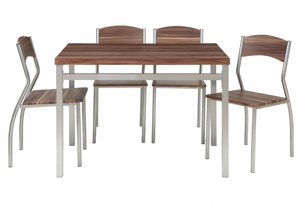 5 Piece Dining Table Set With 4 Chairs Modern And Sleek Dinette
