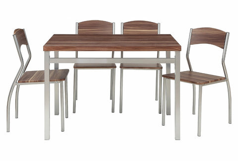 5-Piece Dining Table Set with 4 Chairs - Modern Dinette with Cedarwood Finish