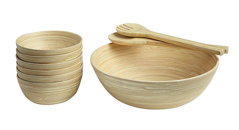Bamboo Salad Bowl 6 Bowls with Salad Tongs