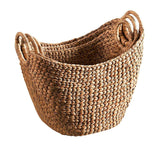 Set of 3 Light Brown Water Hyacinth Baskets with Handles