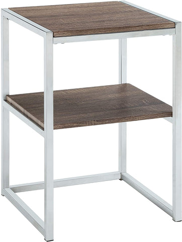 Contemporary Two-Tiered Square End Table
