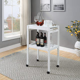 Two-Tier Contemporary Bar Cart with Removable Tray and Wheels
