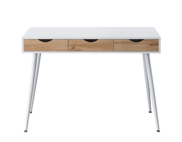 White + Beachwood Writing Desk with Drawers
