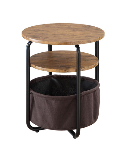 Two-Tier End Table with Storage Basket