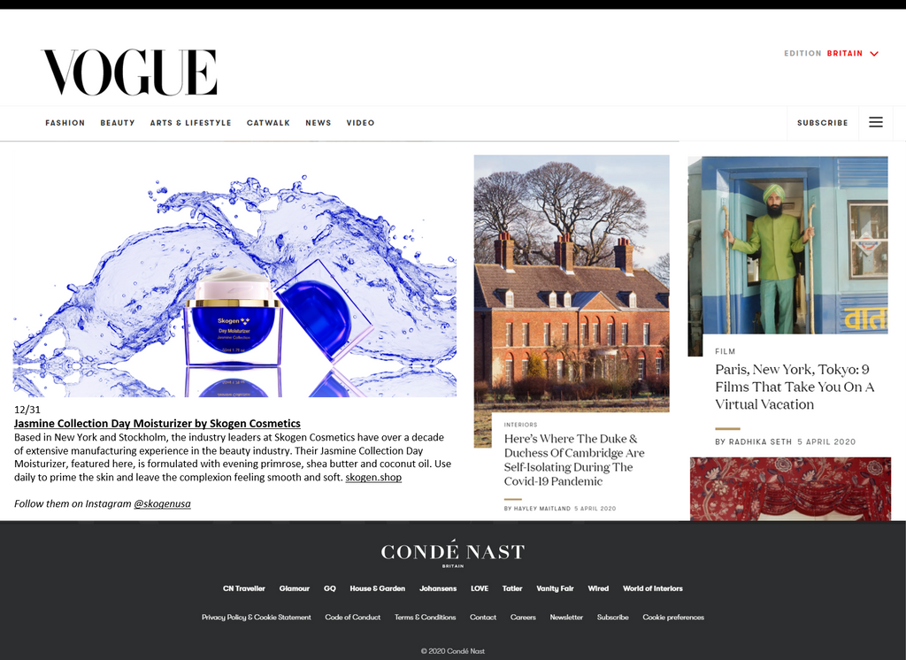Skogen featured in British Vogue Magazine for 2nd executive month in a row - April Edition (both Hard Copy & online)
