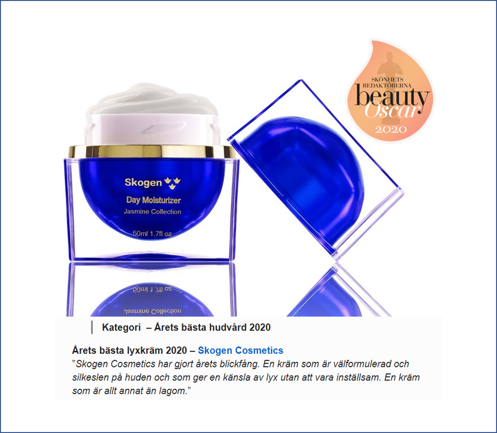 "Skogen awarded ""Best luxury brand"" in Aftonbladet's Skincare award 2020"