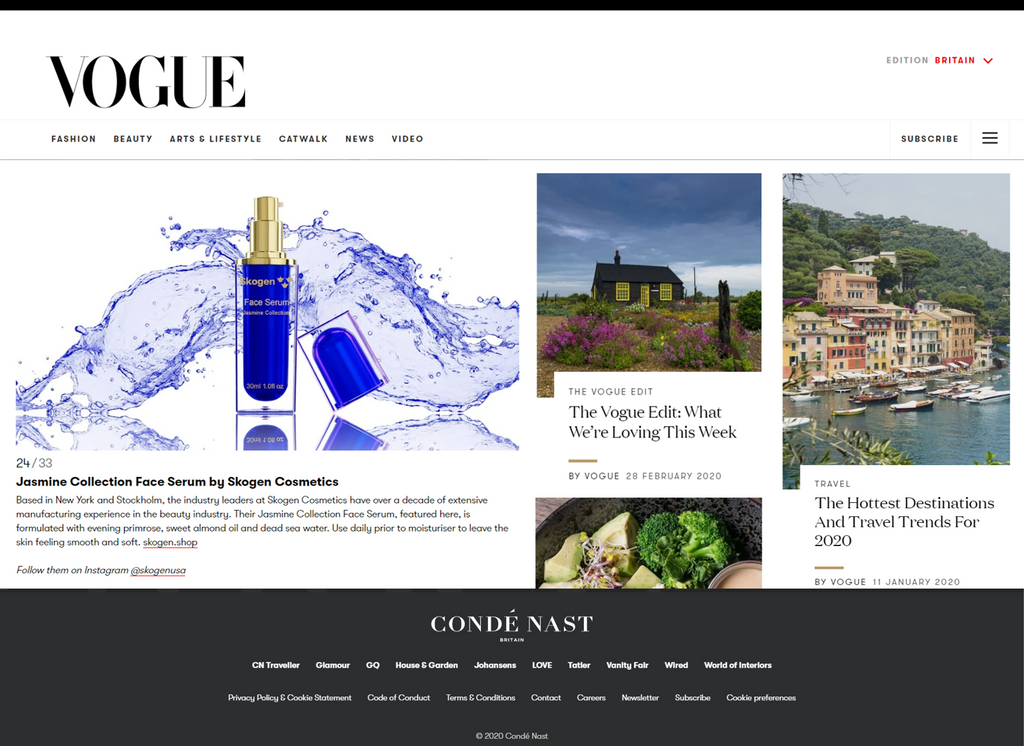 Skogen featured in British Vogue Magazine - March Edition (both Hard Copy & online)