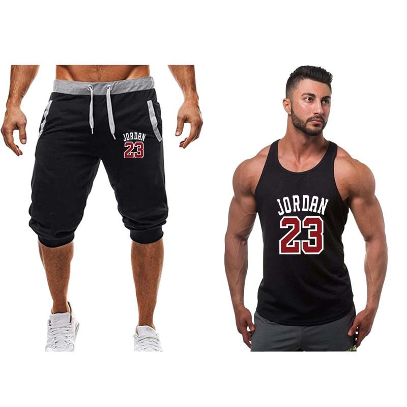 29643d4287c0 Sportsuits Set Men 2019 Brand Fitness Suits Summer 2PC Top Short Set ...
