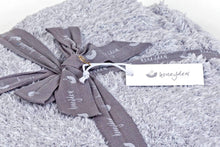 Load image into Gallery viewer, marshmallow heather grey throw blanket wrapped with a ribbon FunkChez