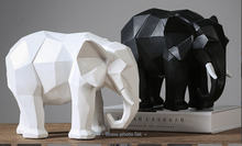 Load image into Gallery viewer, Elephant Statue Abstract Resin Ornaments Black White Geometric Elephant Animal Sculpture Crafts Home Decoration Model Gift