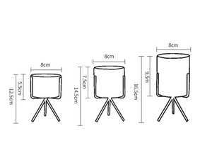 size specifications for 3 planter pots