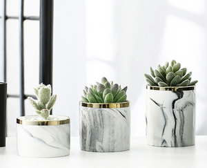 3 marble glazed planter pots without the iron stand placed on a table