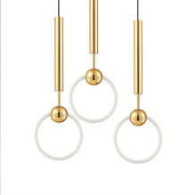 Load image into Gallery viewer, 3 prague pendant lights with gold cord and white round lights