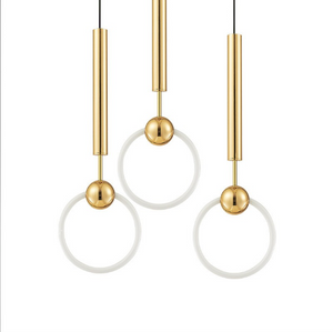 3 prague pendant lights with gold cord and white round lights