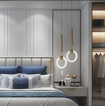 Load image into Gallery viewer, 2 Prague pendant lights hanging in a bedroom - Funkchez
