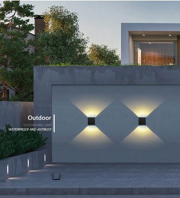 2 modern outdoor lights fixed on a wall outside the house