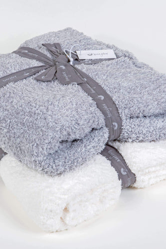 Marshmallow throw blanket set in heather grey and ivory FunkChez