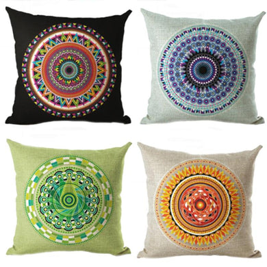 ABSTRACT INDIAN THROW CUSHION COVER SET OF 4