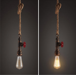 2 AIDEN ROPE PENDANT LIGHTS DISPLAYING LIGHT ON AND LIGHT OFF