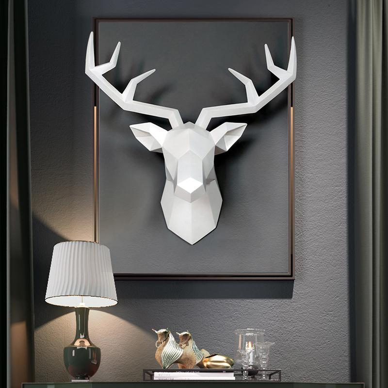 Bajouka white deer head on a black frame home decor piece