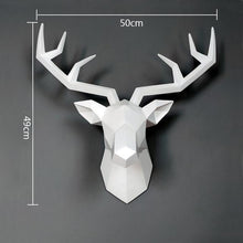 Load image into Gallery viewer, bajouka white deer head  with measurements home decor piece