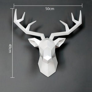 bajouka white deer head  with measurements home decor piece