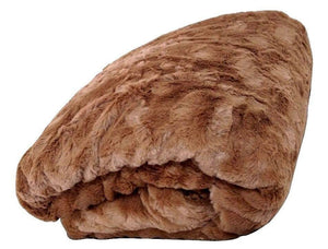 BROWN LUXURY FAUX FUR SHERPA BLANKET