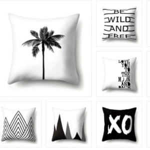 BLACK & WHITE THROW PILLOW COVERS I FunkChez