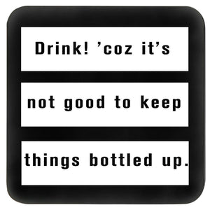 Black and white quirky bar table drink coaster set with funny quote