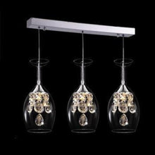 Load image into Gallery viewer, cocktail chandelier lights shaped in a wine glass hanging on a bar