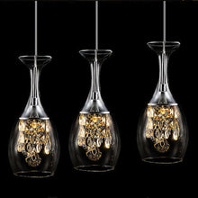 Load image into Gallery viewer, 3 cocktail chandelier lights shaped in a wine glass