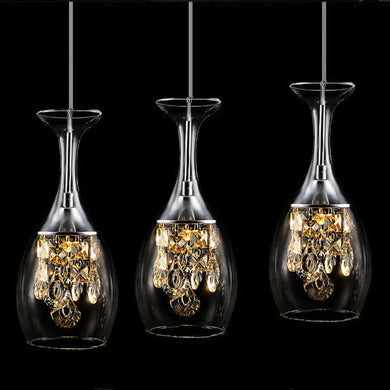 3 cocktail chandelier lights shaped in a wine glass