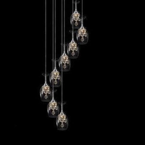 8 cocktail chandelier lights shaped in a wine glass