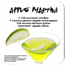 Load image into Gallery viewer, apple martini recipe with image printed on a white coaster
